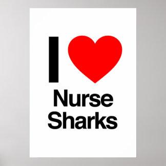 amo tiburones de enfermera poster