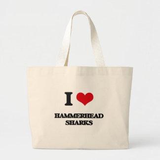 Amo tiburones de Hammerhead Bolsas