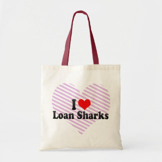 Amo tiburones de préstamo bolsa tela barata