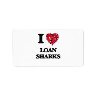 Amo tiburones de préstamo etiqueta de dirección