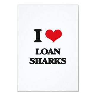 """Amo tiburones de préstamo invitación 3.5"""" x 5"""""""