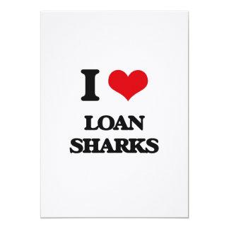 """Amo tiburones de préstamo invitación 5"""" x 7"""""""