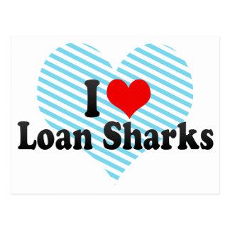 Amo tiburones de préstamo tarjeta postal