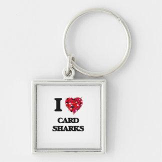 Amo tiburones de tarjeta llavero cuadrado plateado