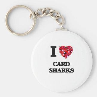 Amo tiburones de tarjeta llavero redondo tipo pin