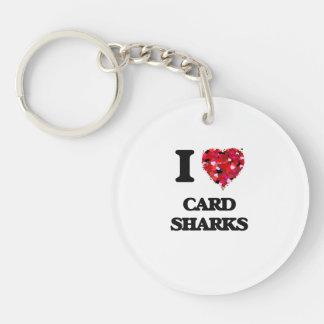 Amo tiburones de tarjeta llavero redondo acrílico a una cara