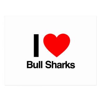 amo tiburones de toro tarjetas postales