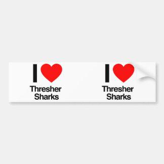 amo tiburones de trilladora pegatina de parachoque