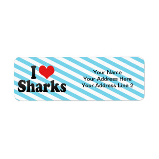 Amo tiburones etiqueta de remitente