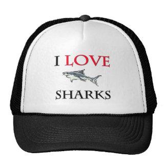 Amo tiburones gorras de camionero