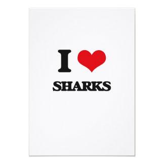 Amo tiburones invitación 12,7 x 17,8 cm