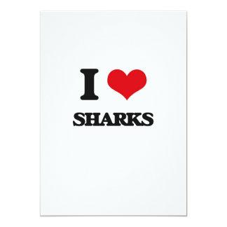 """Amo tiburones invitación 5"""" x 7"""""""