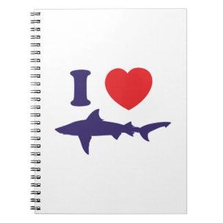 Amo tiburones libros de apuntes con espiral