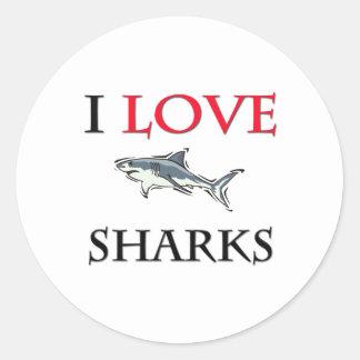 Amo tiburones pegatina redonda