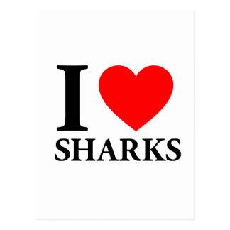 Amo tiburones tarjeta postal