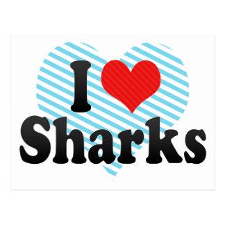 Amo tiburones tarjetas postales