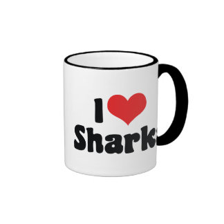 Amo tiburones taza a dos colores