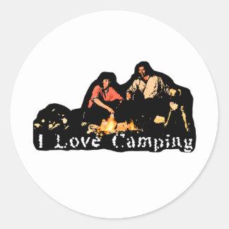 Amo tiempo de la familia que acampa pegatina redonda