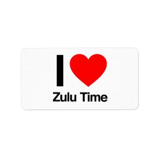 amo tiempo del Zulú Etiquetas De Dirección