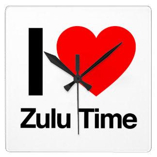 amo tiempo del Zulú Reloj Cuadrado