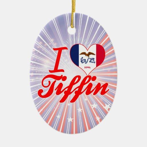 Amo Tiffin, Iowa Adorno Navideño Ovalado De Cerámica