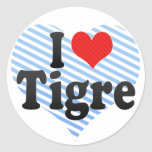 Amo Tigre Pegatina Redonda