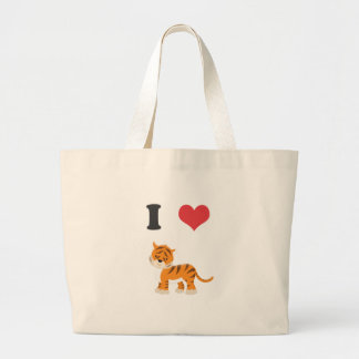 Amo tigres bolsa tela grande