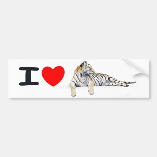 Amo tigres etiqueta de parachoque