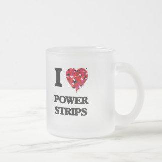 Amo tiras del poder taza cristal mate