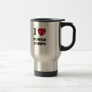 Amo tiras del poder taza de viaje de acero inoxidable
