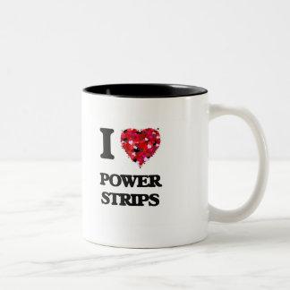 Amo tiras del poder taza dos tonos