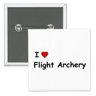 Amo tiro al arco del vuelo pin cuadrado