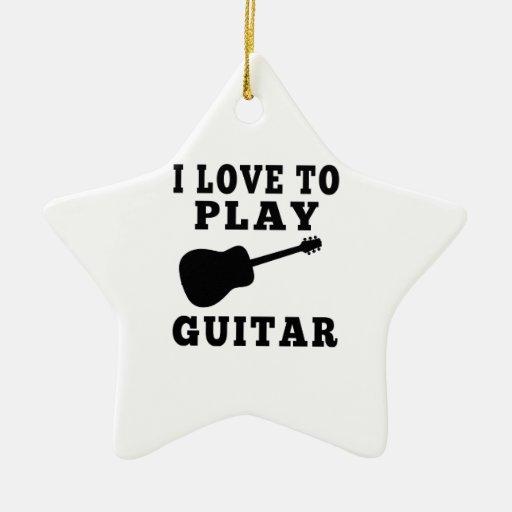 Amo tocar la guitarra adornos de navidad
