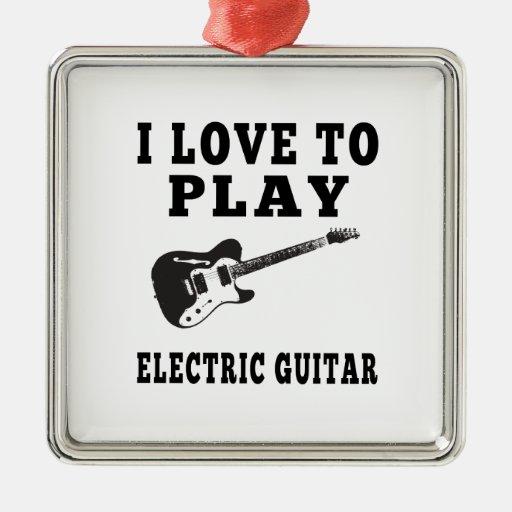 Amo tocar la guitarra eléctrica adornos de navidad