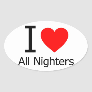 Amo todo el Nighters Colcomanias Ovaladas Personalizadas