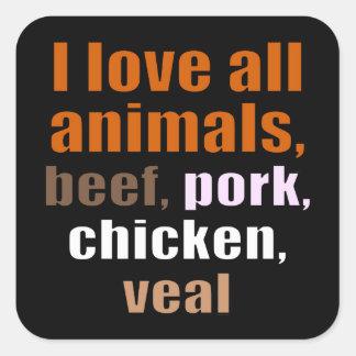 Amo todos los animales pegatina cuadrada