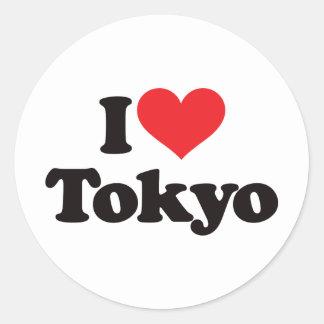 Amo Tokio Pegatina Redonda
