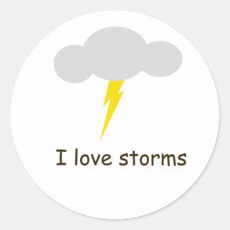 Amo tormentas pegatina redonda