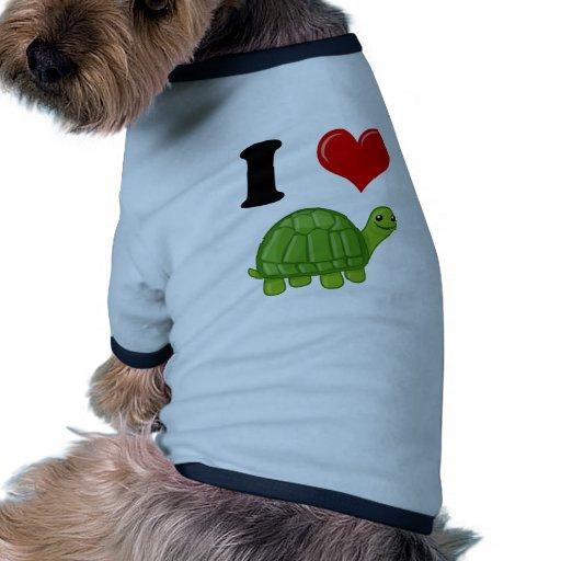 Amo tortugas camiseta con mangas para perro