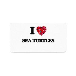 Amo tortugas de mar etiqueta de dirección