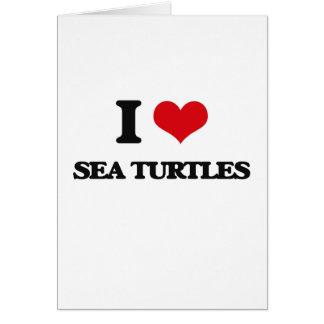 Amo tortugas de mar tarjetas