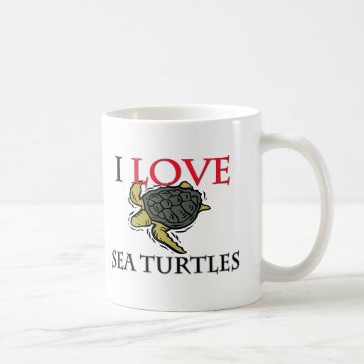 Amo tortugas de mar taza básica blanca