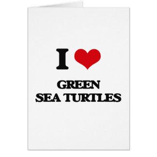 Amo tortugas de mar verde tarjeton