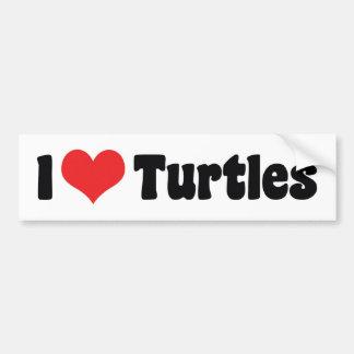 Amo tortugas del corazón pegatina para auto