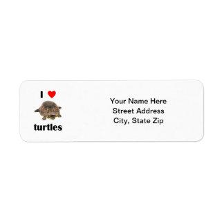 Amo tortugas etiquetas de remite