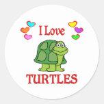 Amo tortugas etiqueta redonda