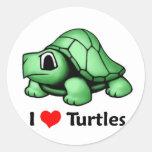 Amo tortugas etiquetas redondas
