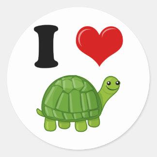 Amo tortugas pegatinas redondas