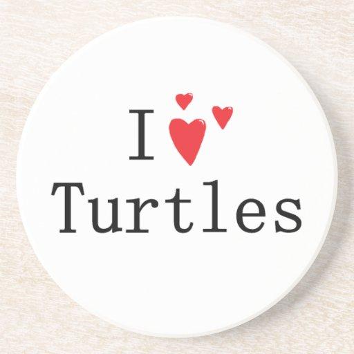 Amo tortugas posavasos diseño
