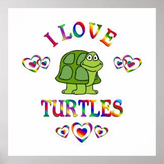 Amo tortugas póster